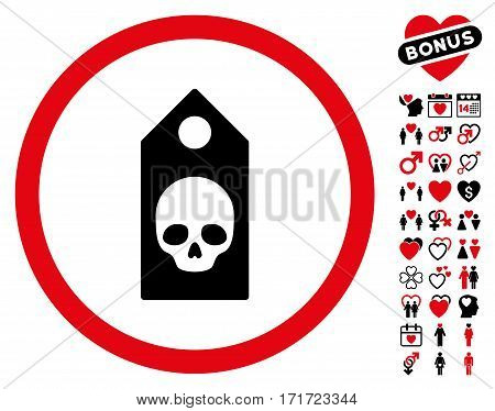 Death Coupon pictograph with bonus marriage clip art. Vector illustration style is flat iconic intensive red and black symbols on white background.