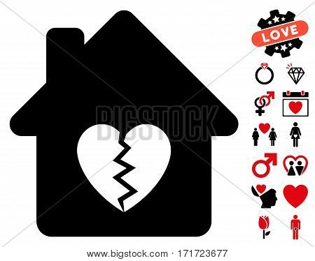 Divorce House Heart icon with bonus romantic pictograms. Vector illustration style is flat iconic intensive red and black symbols on white background.