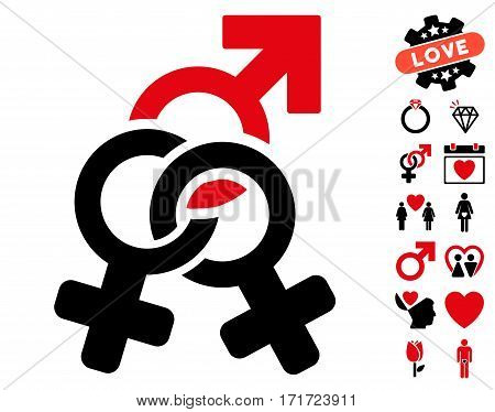 Double Mistress pictograph with bonus amour images. Vector illustration style is flat iconic intensive red and black symbols on white background.