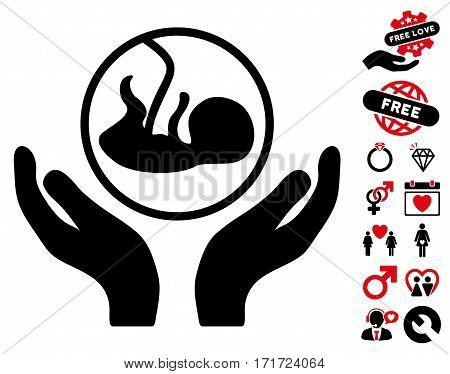 Embryo Care Hands pictograph with bonus valentine pictograph collection. Vector illustration style is flat iconic intensive red and black symbols on white background.