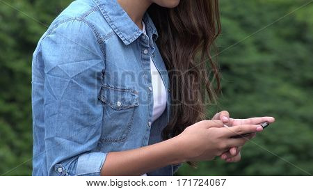 Close Up of Girl Texting Or Using Smart Phone