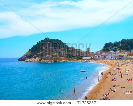 Tossa de Mar Costa Brava Catalonia Spain - September 12 2013: View of the beach Gran in Tossa de Mar.