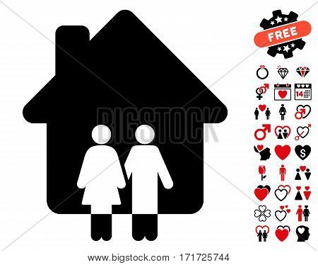 Family House pictograph with bonus decorative pictograph collection. Vector illustration style is flat iconic intensive red and black symbols on white background.