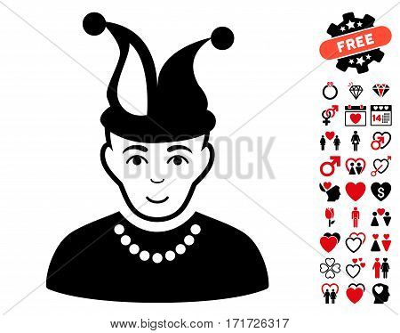 Fool pictograph with bonus lovely icon set. Vector illustration style is flat iconic intensive red and black symbols on white background.