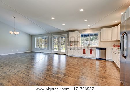 Spacious Rambler Kitchen Interior With Vaulted Ceiling