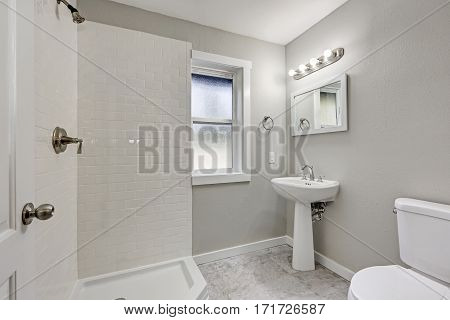 White Bathroom Interior With Shower And Washstand