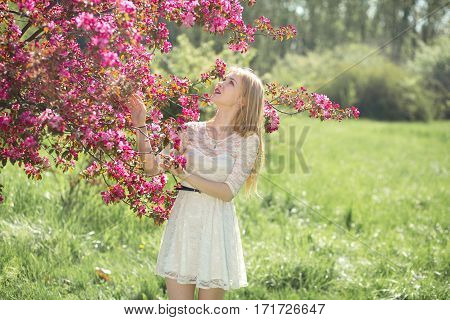 Beautiful young girl in white dress enjoying warm day in park during cherry blossom season on a nice spring.