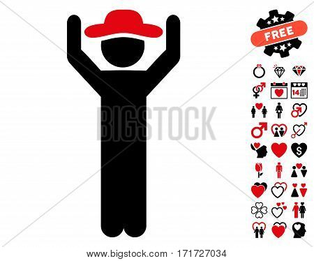 Gentleman Hands Up pictograph with bonus romantic symbols. Vector illustration style is flat iconic intensive red and black symbols on white background.