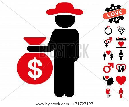 Gentleman Investor pictograph with bonus amour pictures. Vector illustration style is flat iconic intensive red and black symbols on white background.
