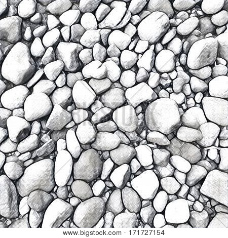 Stone background Digital illustration. Rocky backdrop in black and white colors. Stone pile from beach. Small pebble stones on the wall or path. Monochrome natural texture. Bordered mosaic