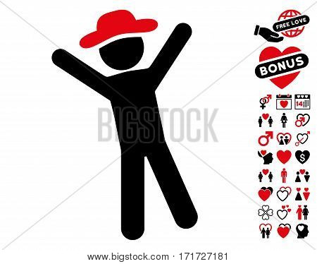 Gentleman Joy pictograph with bonus amour pictograph collection. Vector illustration style is flat iconic intensive red and black symbols on white background.