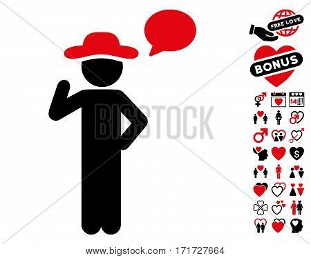Gentleman Speech icon with bonus amour pictures. Vector illustration style is flat iconic intensive red and black symbols on white background.