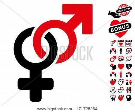 Heterosexual Symbol icon with bonus love clip art. Vector illustration style is flat iconic intensive red and black symbols on white background.