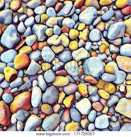 Stone background Digital illustration. Rocky backdrop or tile. Stone pile from beach. Small pebble stones mosaic wall or path. Pebble natural texture. Square decor element in bright orange color
