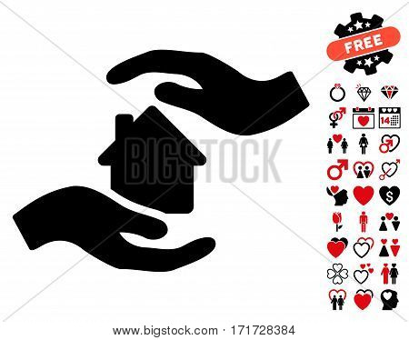 House Care Hands icon with bonus love design elements. Vector illustration style is flat iconic intensive red and black symbols on white background.