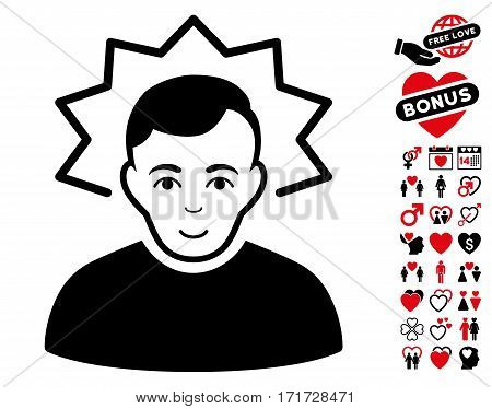 Inventor pictograph with bonus love pictograms. Vector illustration style is flat iconic intensive red and black symbols on white background.