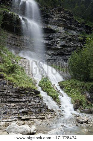 Waterfall of Sorrosal in Broto province of Huesca in Aragon Spain