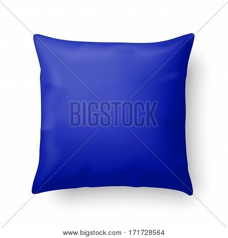 Close Up of a Blue Pillow Isolated on White Background