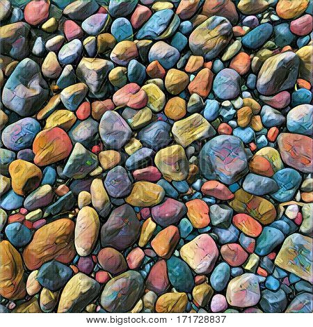 Stone background Digital illustration. Rocky backdrop or tile. Stone pile from beach. Small pebble stones mosaic wall or path. Precious stone natural texture. Square decor element. Beach pebbles