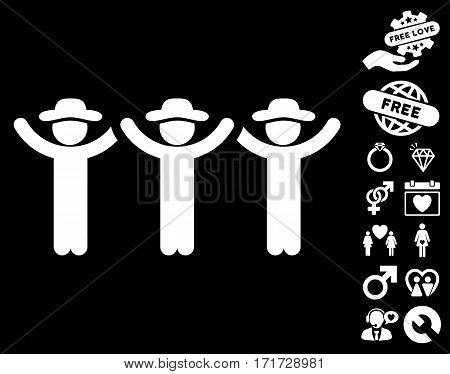 Gentlemen Hands Up Roundelay icon with bonus decorative images. Vector illustration style is flat iconic white symbols on black background.