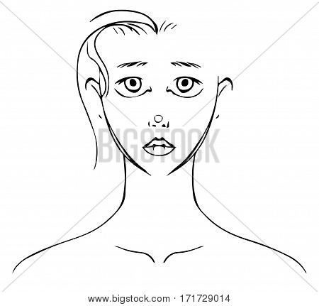 Transparent black lineart of a young woman's face.