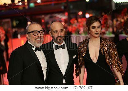 Blanca Suarez, Jaime Ordonez, Alex de la Iglesia attend the 'The Bar' (El Bar) premiere during the 67th Berlinale  Film Festival Berlin at Berlinale Palace on February 15, 2017 in Berlin, Germany.