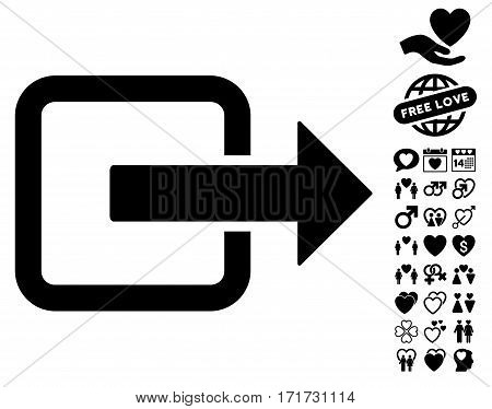 Exit Door pictograph with bonus lovely pictograph collection. Vector illustration style is flat iconic black symbols on white background.