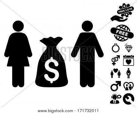 Family Money Deposit pictograph with bonus romantic icon set. Vector illustration style is flat iconic black symbols on white background.
