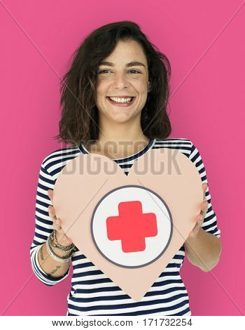 Woman Hold Heart Plus First Aids