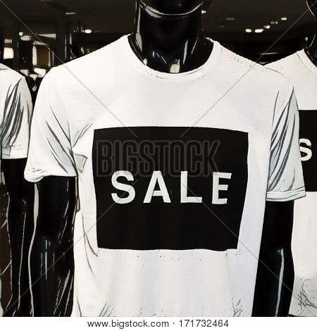 Digital illustration - Black mannequin in t-shirt with large inscription Sale. Retail and mass-market shop discounts. Sales season in summer and winter. Black friday clothes. Shopping season