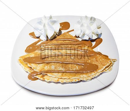 Crepes With Chocolate And Whipped Cream