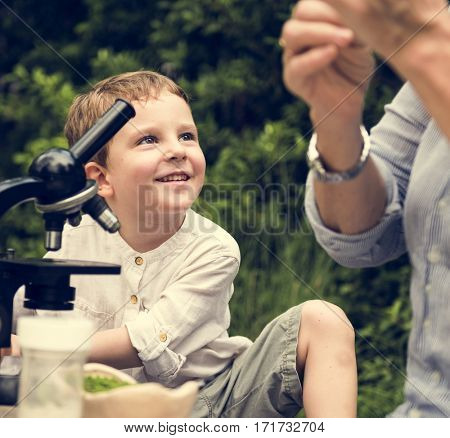 Grandmother Grandson Family Science Microscope