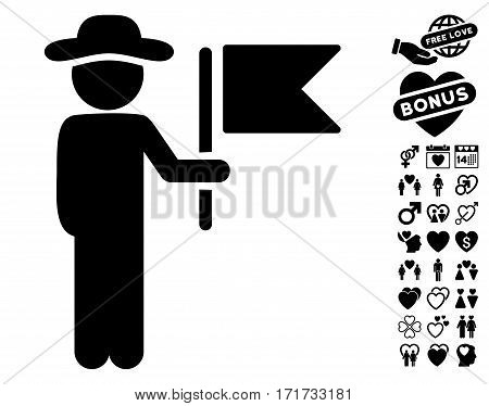 Gentleman Commander pictograph with bonus love icon set. Vector illustration style is flat iconic black symbols on white background.
