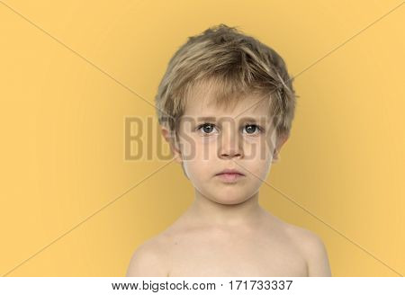Little Boy Bare Chest Studio Portrait Young Adorable
