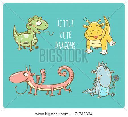 Cute cartoon dragons set. Four little colorful dinosaurs. Vector contour image. Funny animals. Children's illustration.
