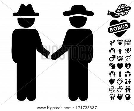Gentleman Handshake icon with bonus amour pictures. Vector illustration style is flat iconic black symbols on white background.