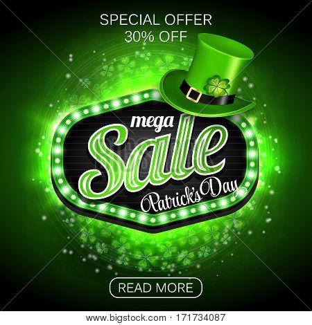Green Poster, Banner or Flyer design of mega Sale on occasion of St. Patrick's Day celebration. Vector