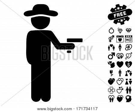 Gentleman Robber icon with bonus romantic images. Vector illustration style is flat iconic black symbols on white background.