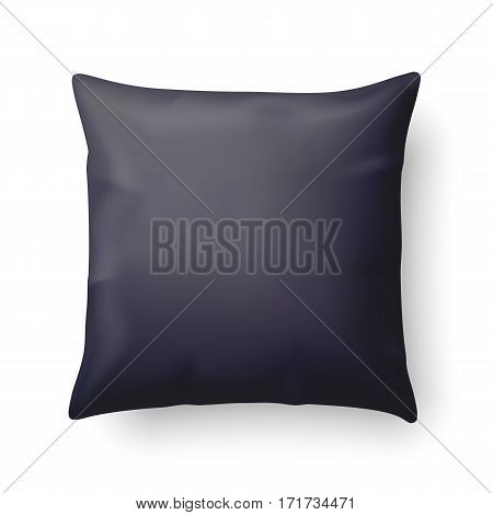 Close Up of a Black Pillow Isolated on White Background