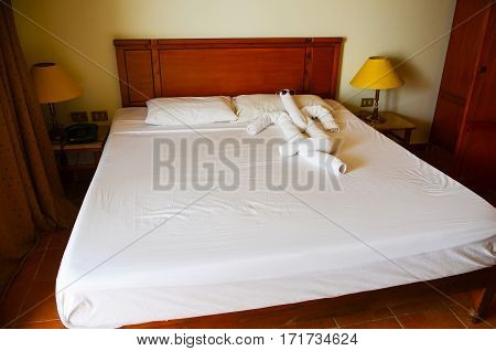 Egypt, Sharm El Sheikh - 08 June / 2015: The Hotel Staff Make Figures Out Of Towels To Surprise Cust