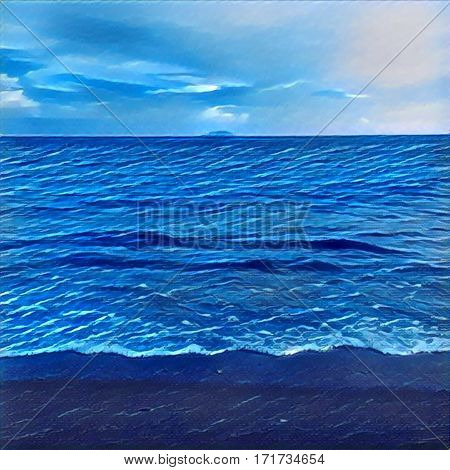 Digital illustration - The wave from the ocean and distant island. Tropical island view from the beach. Exotic island in sea. Beach landscape with the ocean and horizon line. Blue shades picture