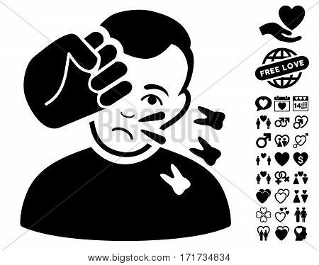 Head Strike icon with bonus decorative pictograph collection. Vector illustration style is flat iconic black symbols on white background.