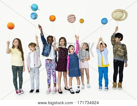 A children are holding asteroid.