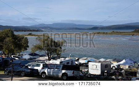 Mallacoota, Australia - Jan 5, 2017. Mallacoota Foreshore Holiday Camping Park. Mallacoota is a small town in the East Gippsland region of Victoria, Australia.