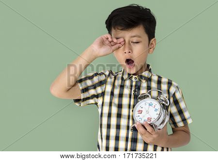 Little Boy Wake Up Holding Clock