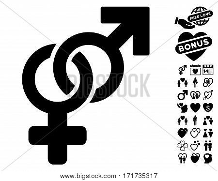 Heterosexual Symbol pictograph with bonus lovely pictures. Vector illustration style is flat iconic black symbols on white background.