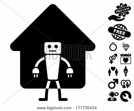Home Robot pictograph with bonus marriage icon set. Vector illustration style is flat iconic black symbols on white background.