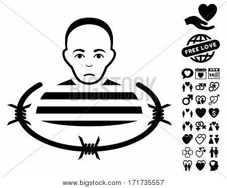 Isolated Prisoner icon with bonus valentine pictograms. Vector illustration style is flat iconic black symbols on white background.