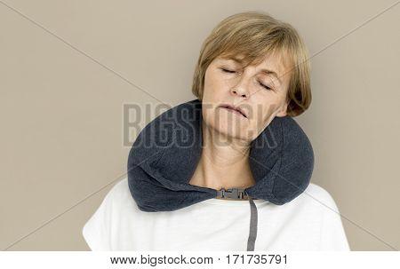 Senior Woman Neck Pillow Comfortable Sleeping