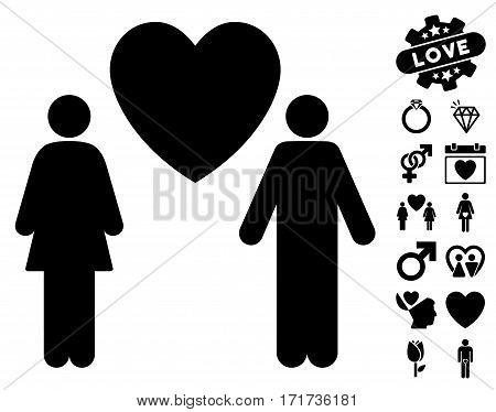 Love Couple pictograph with bonus amour symbols. Vector illustration style is flat iconic black symbols on white background.